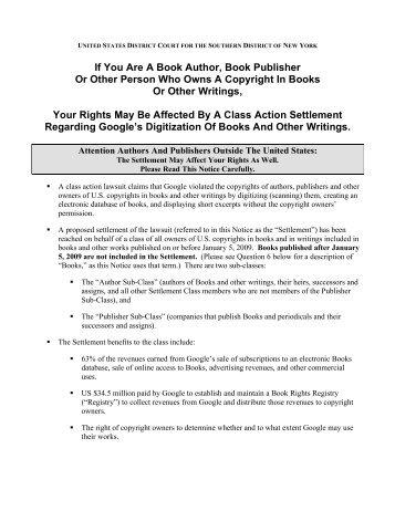 Google Book Search Settlement - STM