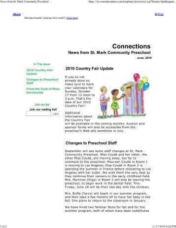 News from St. Mark Communit... - St. Mark Community Preschool