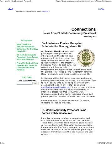 February 2012 - st. mark community preschool