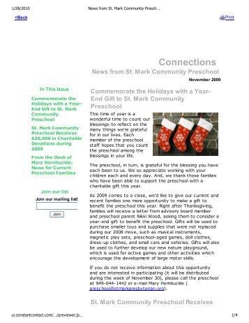 News from St. Mark Community Preschool