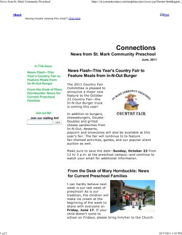 June, 2011 - St. Mark Community Preschool