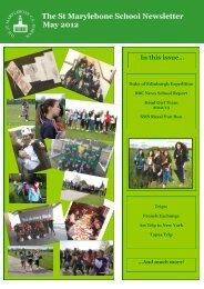 The St Marylebone School Newsletter May 2012