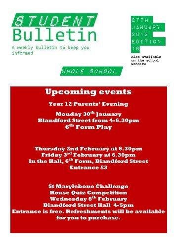Whole School Upcoming events - St Marylebone School