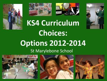 Curriculum Pathways 2010-2012 - St Marylebone School