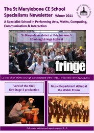 The St Marylebone CE School Specialisms Newsletter A Specialist ...