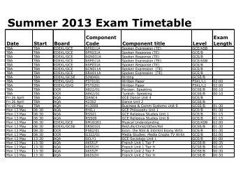 Summer 2013 Exam Timetable - St Marylebone School