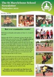 September 2012 Newsletter - St Marylebone School