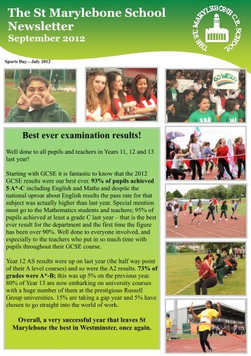 September 2012 Newsletter - St Marylebone School