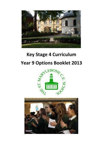 Year 9 Options Booklet 2013 - St Marylebone School