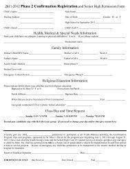 2009-2010 Confirmation Registration and Senior ... - St. Mary's Parish