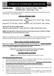 Uniform Shop Opening Hours and Price List ... - St Mary's College
