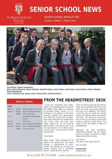 SENIOR SCHOOL NEWS - St Mary's School