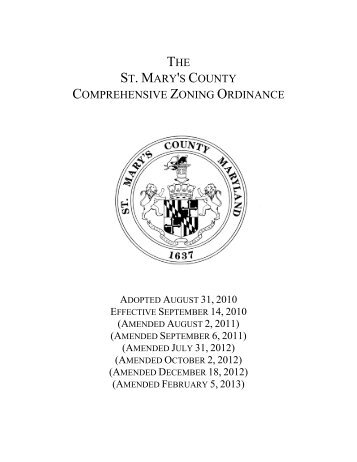 Comprehensive Zoning Ordinance Article 1 - St. Marys County
