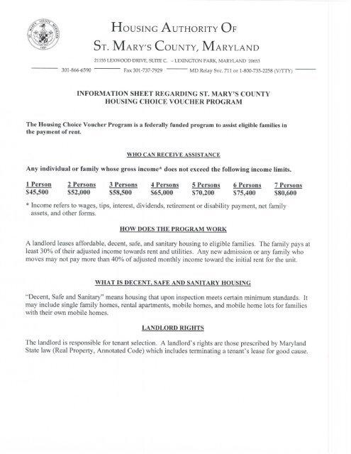 Housing Choice Voucher Program Information Sheet