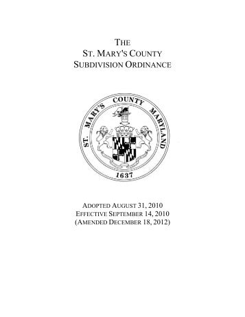 the st. mary's county subdivision ordinance - St. Marys County