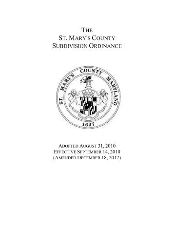 THE ST. MARY'S COUNTY SUBDIVISION ORDINANCE