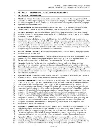 Comprehensive Zoning Ordinance Article 9 - St. Marys County