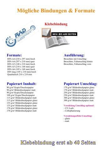 Mögliche Bindungen - Formate & Papiersorten