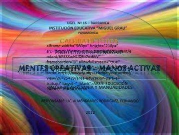 MENTES CREATIVAS – MANOS ACTIVAS