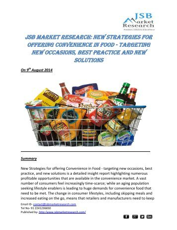 JSB Market Research: New Strategies for offering Convenience in Food - targeting new occasions, best practice and new solutions