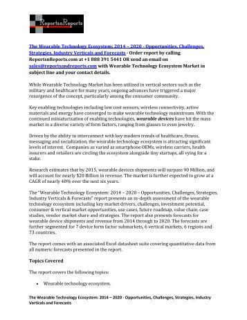 Wearable Technology Ecosystem Market  2014 – 2020 - Opportunities, Challenges, Strategies, Industry Verticals and Forecasts