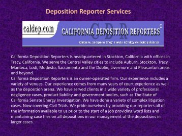 Deposition Reporter Services
