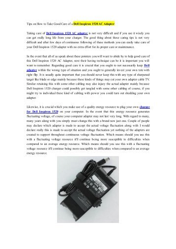 Tips on How to Take Good Care of a Dell Inspiron 1520 AC Adapter.pdf