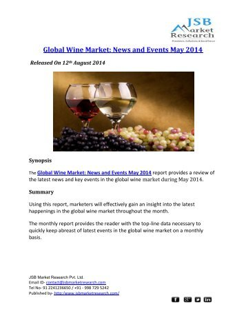 JSB Market Research : Global Wine Market: News and Events May 2014