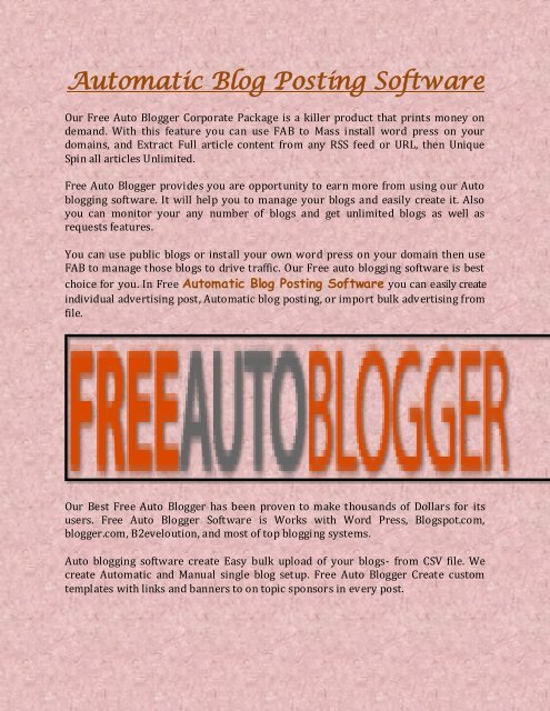 Automatic Blog Posting Software