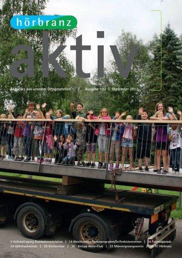 Hörbranz aktiv - September 2012 - Volksbefragung Autobahnraststation