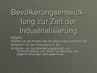 Bevölkerungsentwicklung zur Zeit der Industrialisierung