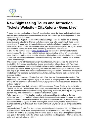 New Sightseeing Tours and Attraction Tickets Website - CityXplora - Goes Live!
