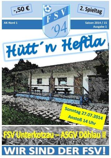 Hütt'n Heftla 2014/15 Ausgabe 1