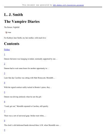 L. J. Smith The Vampire Diaries Contents