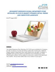 JSB Market Research: Global Department Store Retailing, 2013-2018: Market Dynamics, Retail Trends and Competitive Landscape