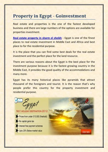 Property in Egypt - Goinvestment