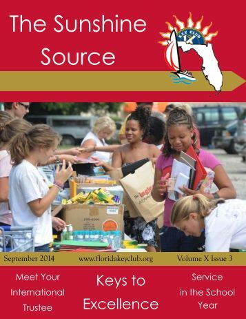 Florida Key Club's Sunshine Source Vol X No 3 Sep 2014