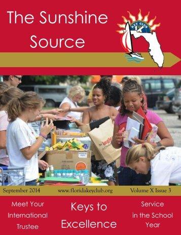 Florida Key Club's Sunshine Source Vol X No 3 Sep 2014