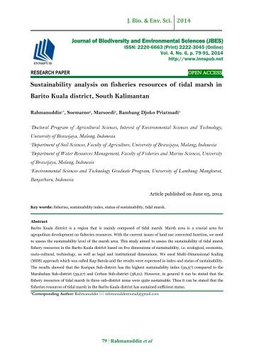 Sustainability analysis on fisheries resources of tidal marsh in Barito Kuala district, South Kalimantan