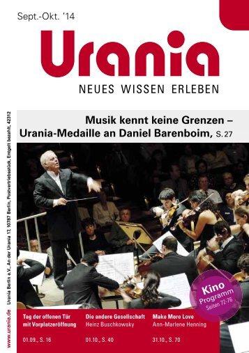 Urania Berlin e.V.- Programm September und Oktober 2014