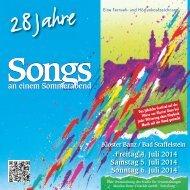 Songs an einem Sommerabend 2014 Programmheft