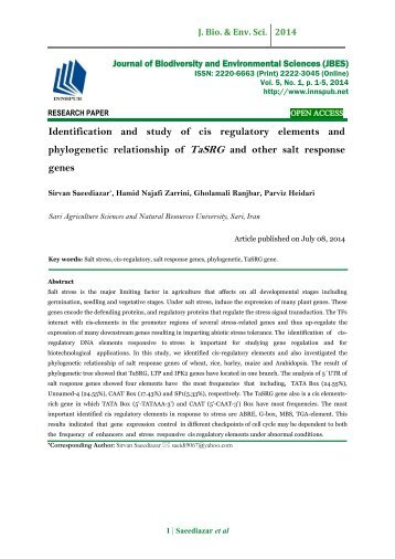 Identification and s tudy of cis regulatory elements and phylogenetic relationship of TaSRG and other salt response genes