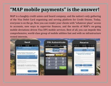 """""""MAP mobile payments"""" is the answer!"""