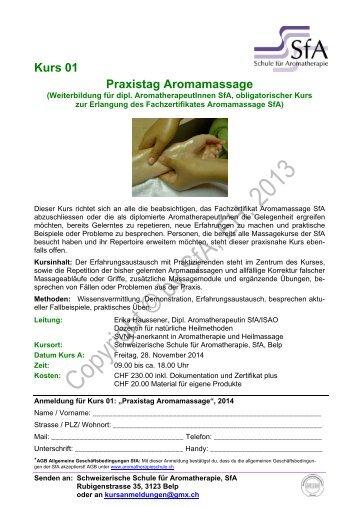 Kurs 01 Praxistag Aromamassage