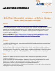 Aarkstore.com - United Aircraft Corporation : Aerospace and Defense - Company Profile, SWOT and Financial Report