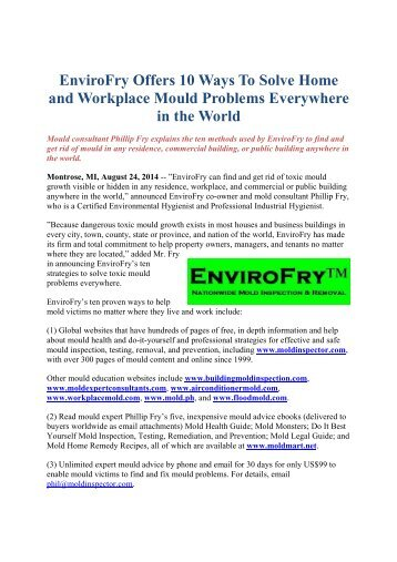 EnviroFry Offers 10 Ways To Solve Home and Workplace Mould Problems Everywhere in the World