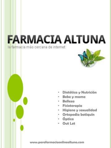 Catálogo de la Parafarmacia Altuna, productos de salud, belleza y dietética