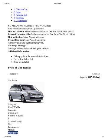 Price of Car Rental