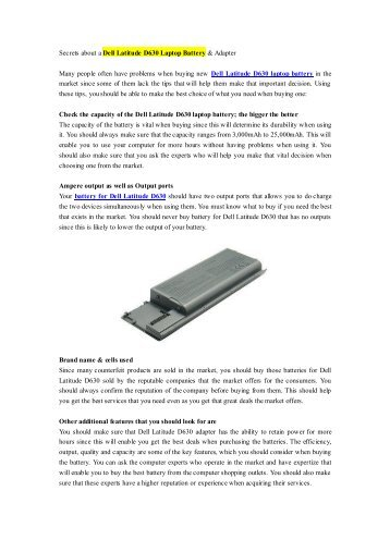 Secrets about a Dell Latitude D630 Laptop Battery & Adapter.pdf