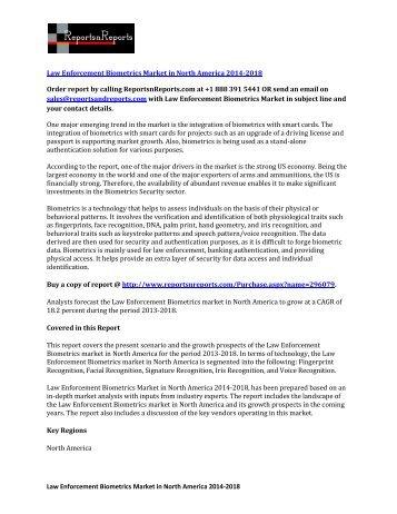 North America Law Enforcement Biometrics Market Analysis & Forecast 2018
